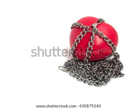 Red heart locked with chain. Love concept. Red heart locked on padlock. Love locked heart shape with chains on white - stock photo