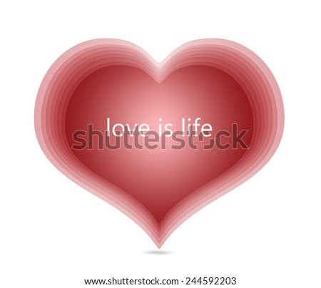 red heart love is life text message romantic card day billboard