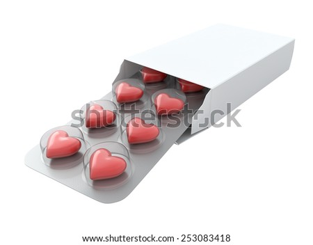 Red heart love pills isolated on white background.