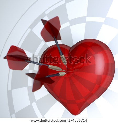 Red heart, low polygon 3d rendering on white background