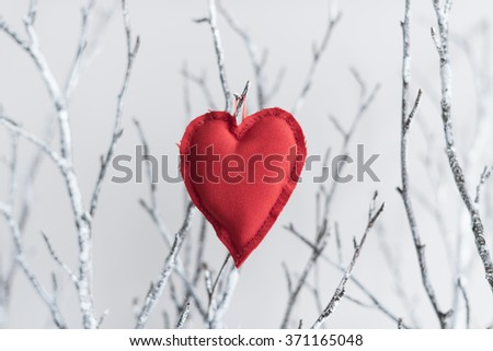 Red heart made of fabric on branches with bright white background