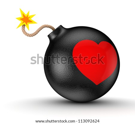 Red heart on a black bomb.Isolated on white background.3d rendered.