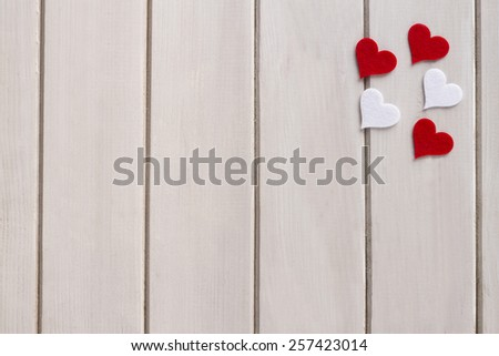 Red heart on a old wooden background.Valentine love heart hanging on vintage white wood background - stock photo