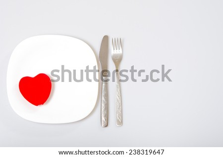 red heart on a plate. Valentine's Day