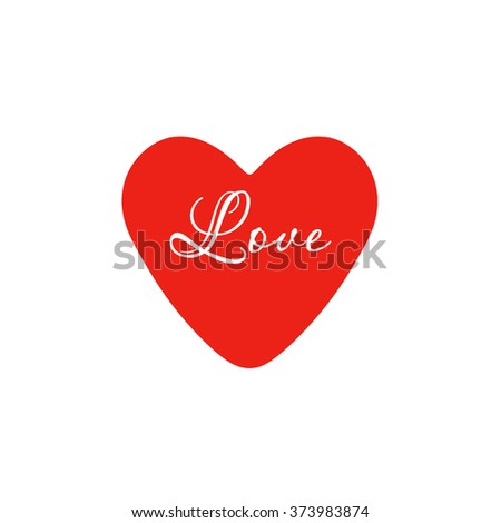 Red heart on a white background, love and happiness in one symbol. Heart Valentine. Valentine's Day. - stock photo