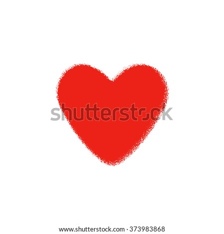Red heart on a white background. The love and happiness in one symbol. Heart Valentine. - stock photo