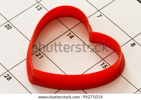 red heart on calendar, valentines day - stock photo