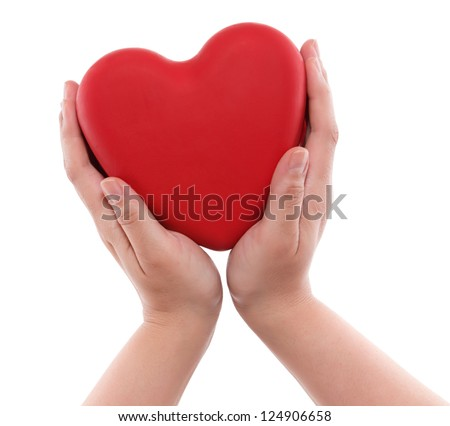 Red heart on hand isolated on white background