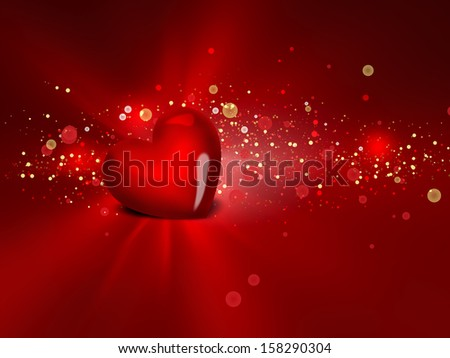 red heart on shining background - stock photo