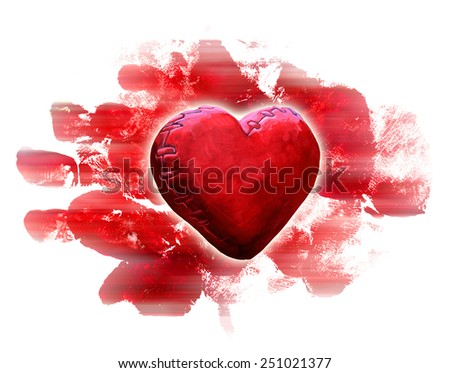 red heart on the abstract red painted background