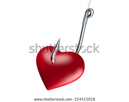 Red heart on the fishing hook isolated on white - stock photo