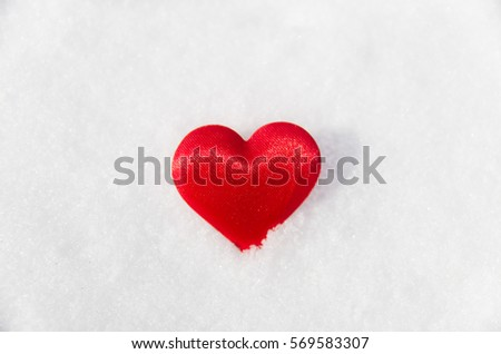 Red heart on the snow. Background Valentine's day , place for text, love heart