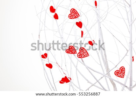 red heart on the white branches,  white tree of love, decoration, white background with lot of valentines hearts, happy Valentine's Day, winter tree and red symbol of love