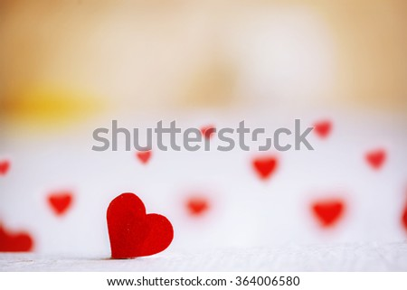 Red heart on the wooden background. Valentines day. Concept Love. - stock photo