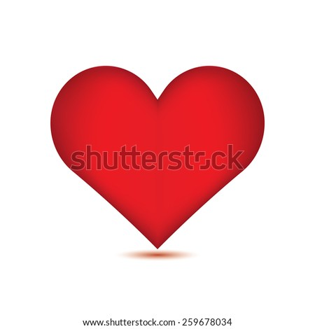 Red heart on white background. - stock photo