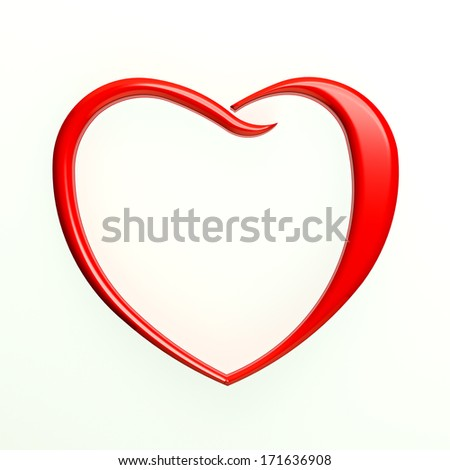 Red Heart Outlined in White Background - stock photo