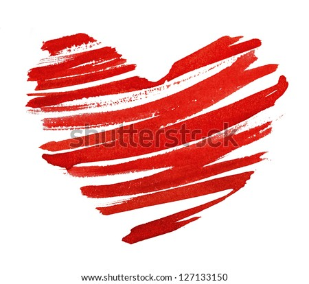 red heart painted in watercolor on white background - stock photo