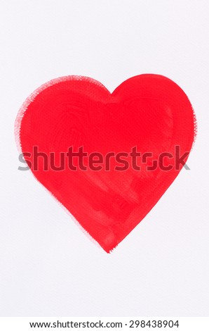 red heart painted on white paper background - stock photo