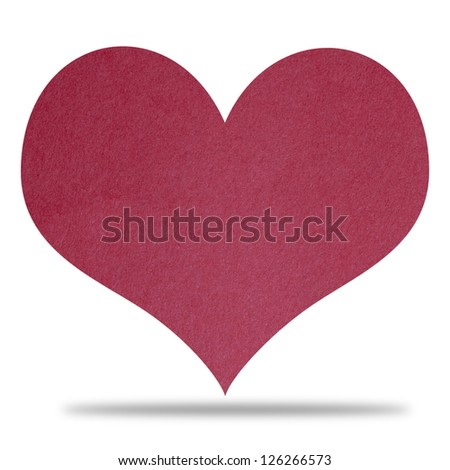 Red Heart Paper Isolated On White Background