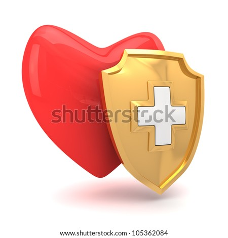 Red heart protected by medical shield - stock photo