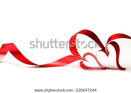 Red heart ribbon bow isolated on white background - stock photo