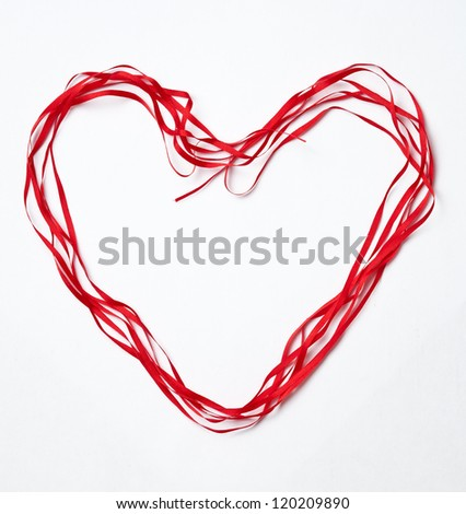 Red heart ribbon, on white background - stock photo