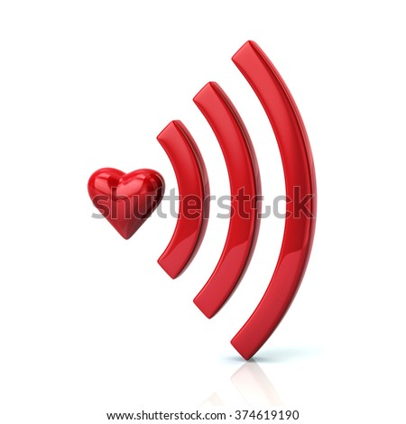 Red heart shape and wifi icon isolated on white background
