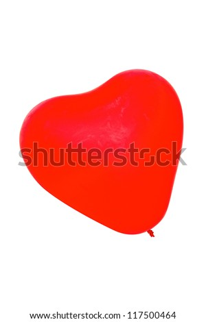 Red heart shape ballons for celebrations isolated on white background