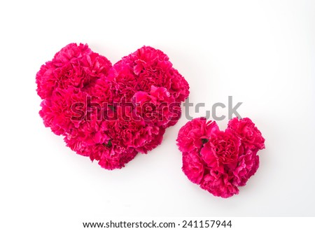 red heart shape by carnations flower - stock photo