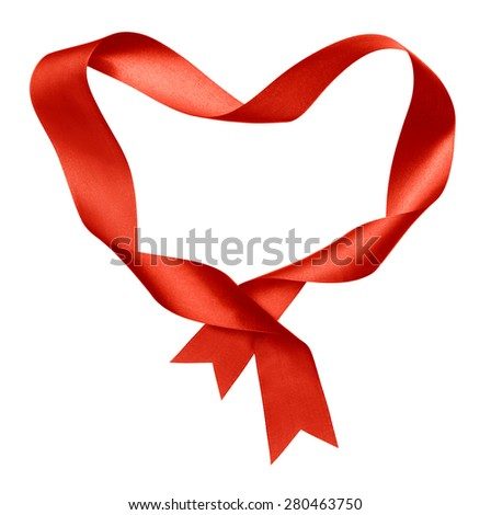 red heart shape frame from twisted silk ribbon isolated - stock photo