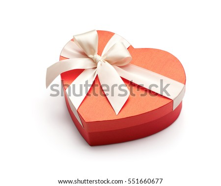 Red heart shape gift box isolated on white background