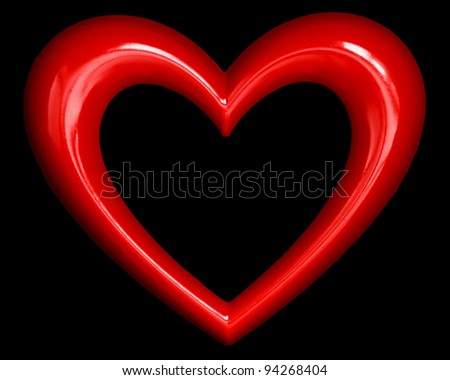 red heart shape isolated on black background