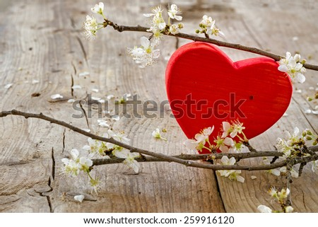 red heart shape made of wood with blooming branches from plum on a rustic wooden background, love symbol for valentine's day or mothers day - stock photo