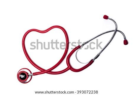 Red Heart Shape Stethoscope Isolated On White Background - stock photo