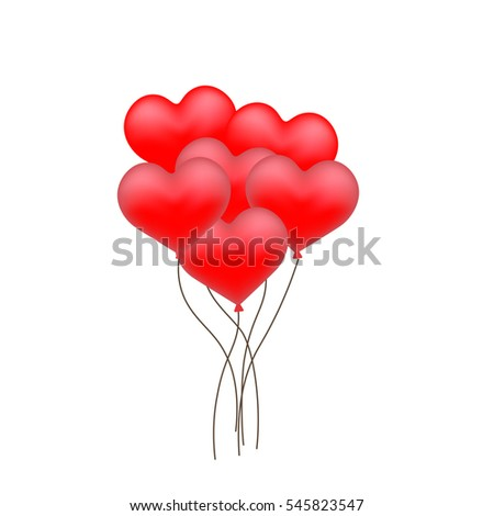 Red Heart shaped Balloons with golden ribbon for Happy Valentine's Day Celebration.