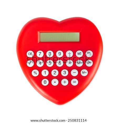 Red heart shaped calculator isolated on white background. - stock photo