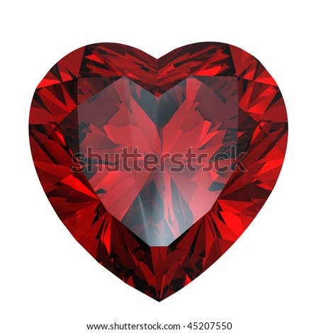Red heart shaped garnet isolated - stock photo