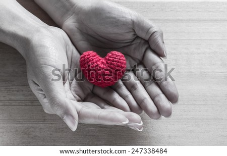 Red Heart Shaped Silk on Hands