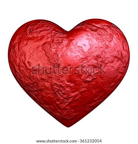 Red heart stone - stock photo
