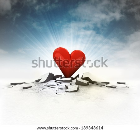 red heart stuck into ground with flare and sky illustration - stock photo
