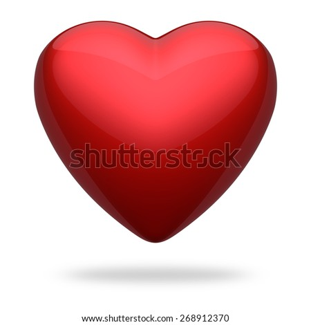 Red heart symbol against white, 3D render - stock photo
