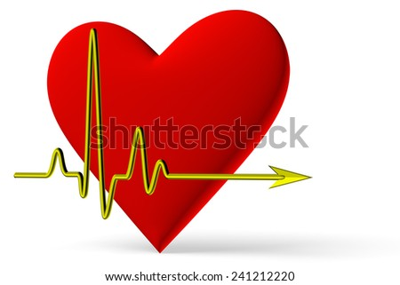 Red heart symbol with pulse line isolated on white background, 3D illustration, diagonal view - stock photo
