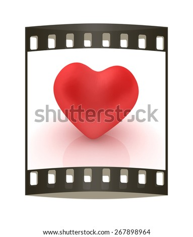 red heart. The film strip - stock photo
