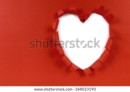 Red heart torn paper Valentine card, white background, copy space - stock photo