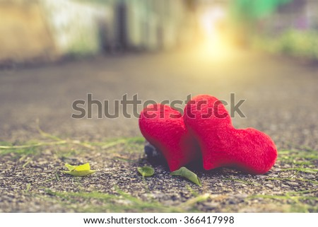 red heart, valentines day postcard, love you, I love you, - stock photo