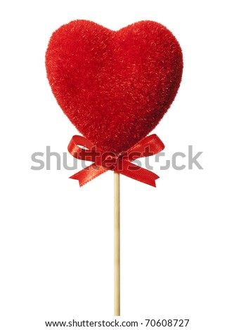 Red heart with a bow on a stick