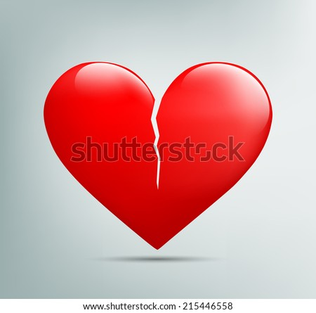 red heart with a crack - stock photo