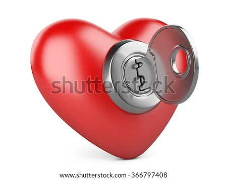 red heart with a keyhole and key. On white background 3d image - stock photo