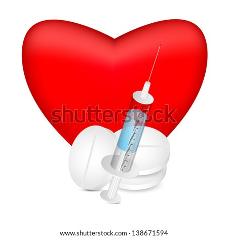red heart with a syringe and pills on white background.raster copy of vector file - stock photo