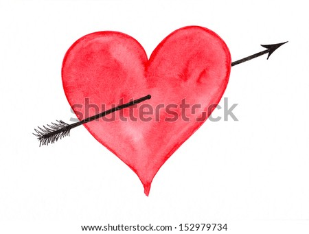 Red heart with arrow - stock photo